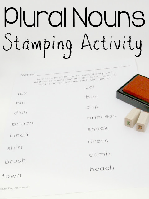 Stamp the ending to spell plural nouns for hands on learning for kids!