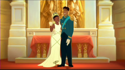 Princess Tiana and Prince Naveen from Disney animated movie The Princess and the Frog