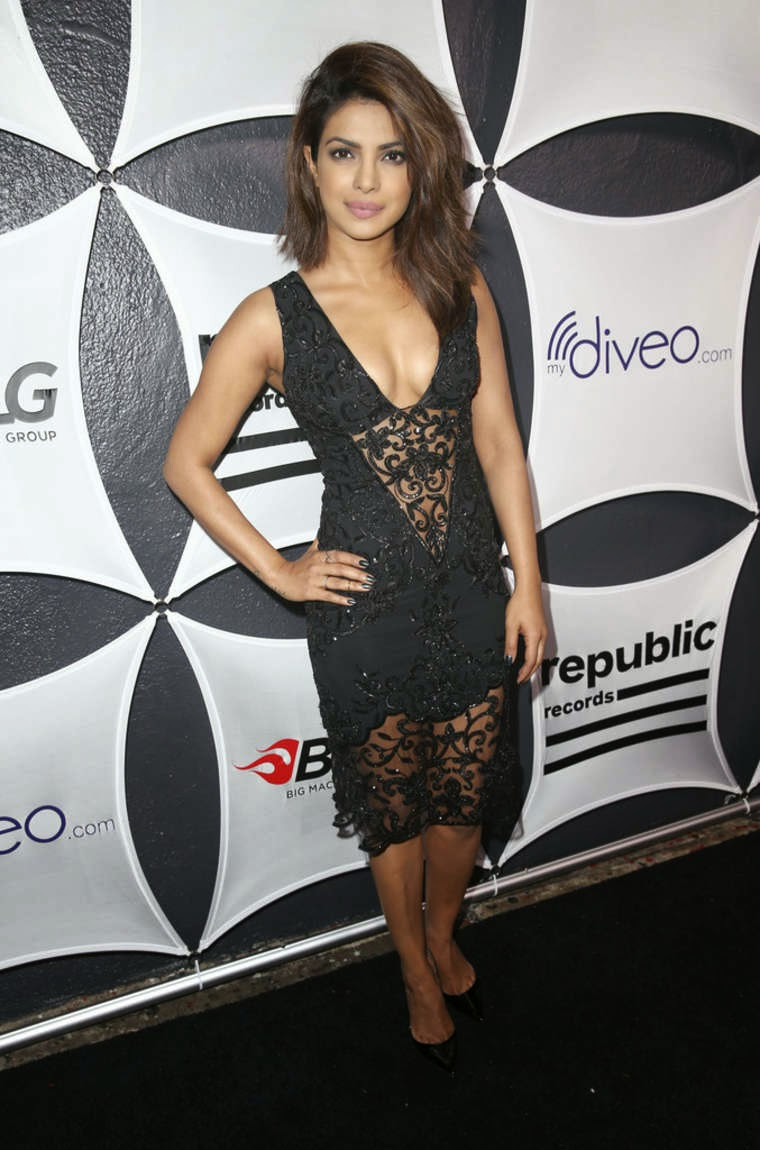 Priyanka Chopra bares cleavage at the Republic Records & Big Machine Label Group's Grammy Celebration