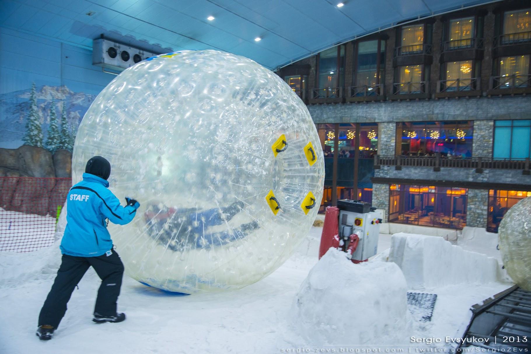 Снежный зорб, шар, горы, снег, Дубай, Ски, мороз