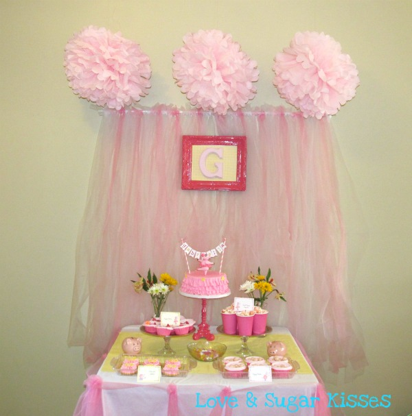 Love and Sugar Kisses Pink Piggy Ballerina Birthday Party