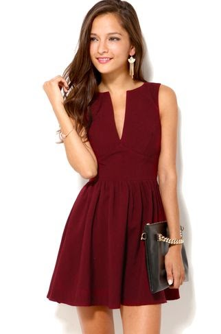 Deep Cut Sleeveless Mini Dress in Oxblood. PS all the dresses on this site are awesome and not TOO expensive! find more women fashion ideas on