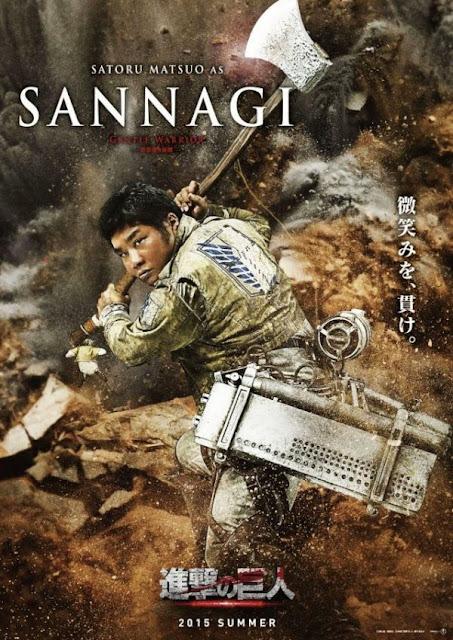 Plakat z filmu Attack on Titan na którym jest Satoru Matsuo jako Sannagi