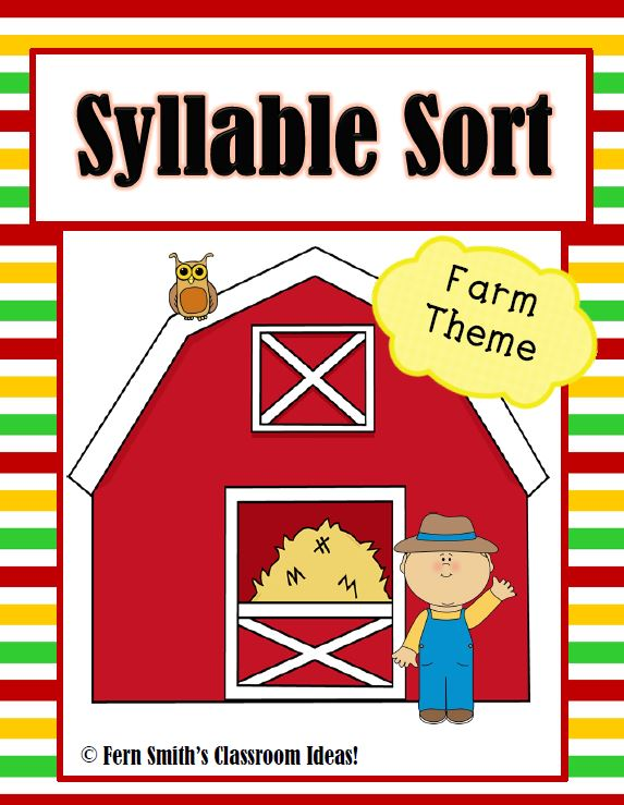 Fern Smith's Classroom Ideas Syllable Sort Farm Themed Center Game