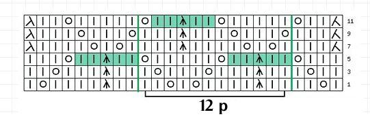 Схема узора из обхватывающих петель