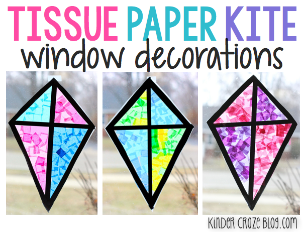 Tutorial for creating tissue paper kites with contact paper. A great spring craft for the kindergarten classroom.