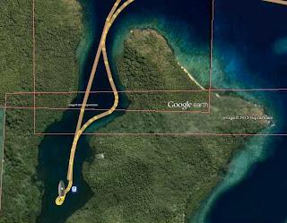 Der selbe Ankerplatz auf der GE-Seekarte
