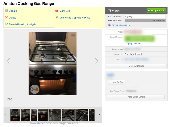 gas range, ariston, olx