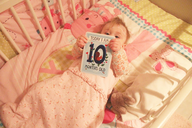 baby with today I am 10 months old milestone card