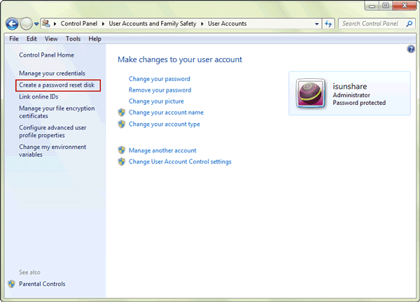 windows 7 password reset disk creation in control panel