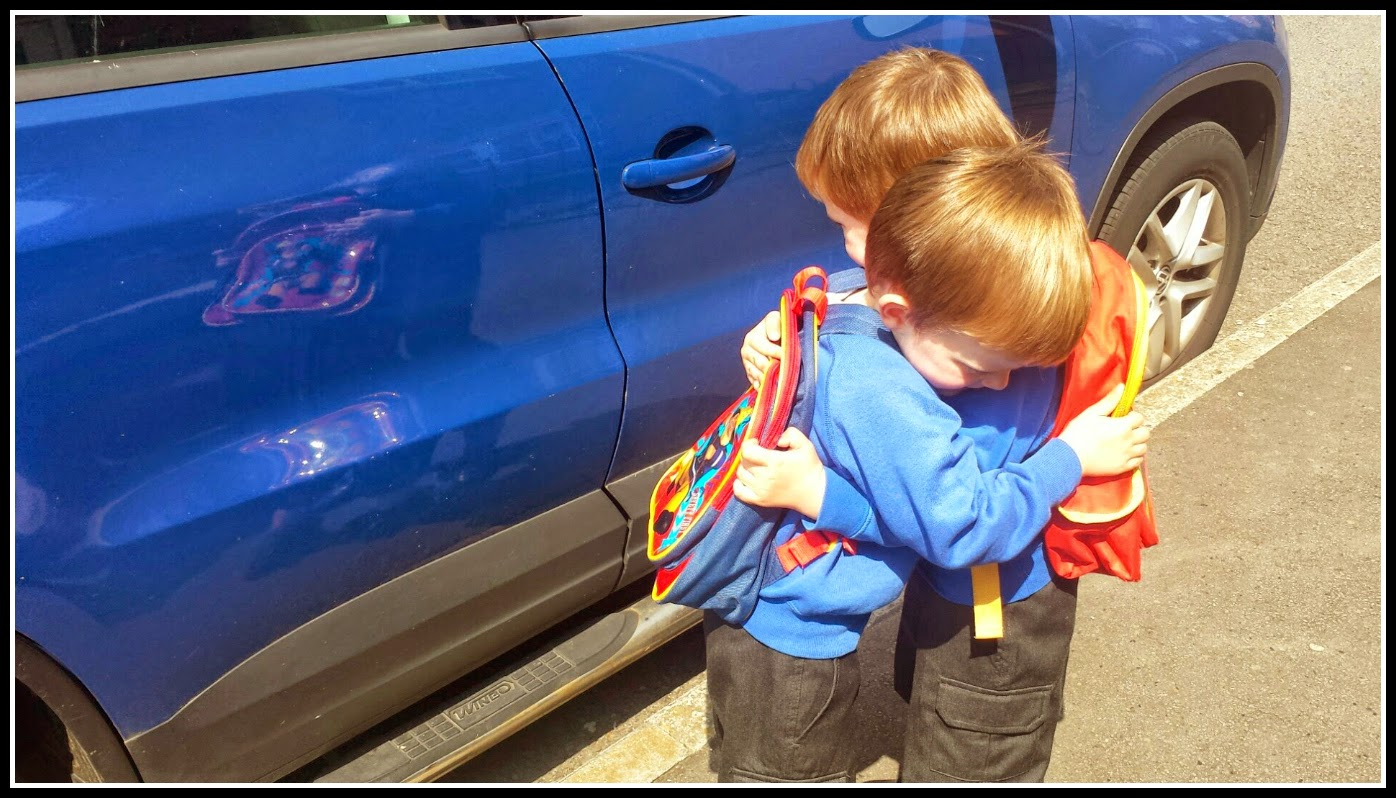 Twin boys first day at school