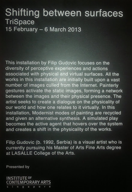 Filip Gudovic, Shifting between Surfaces, TriSpace, ICA Gallery, Lasalle, Singapore