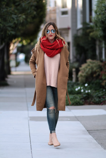 coach red knit scarf; pink and red outfit; camel mason scotch coat