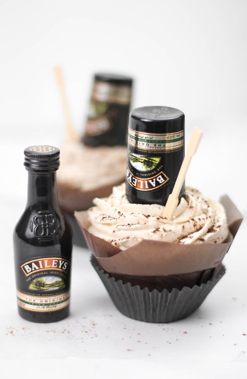 Bottoms Up! Irish Cream Hot Fudge Cupcakes