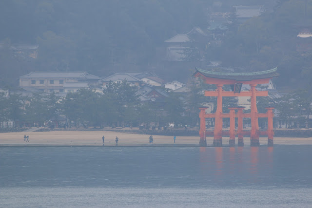 Itsukushima Shrine can been seen during the ferry ride from Hiroshima to Miyajima Island in Japan