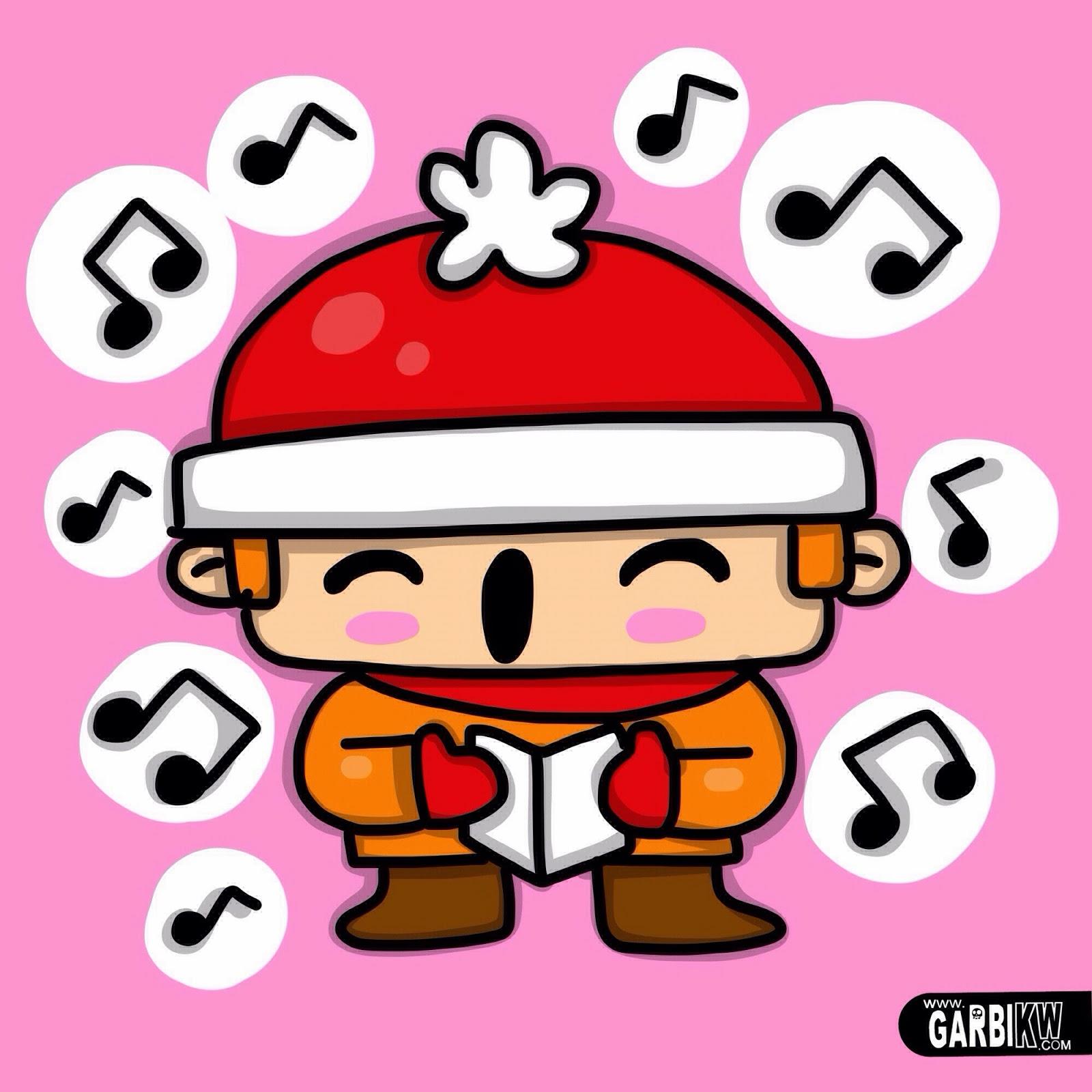 how to draw a boy singing carols christmas style kawaii drawings