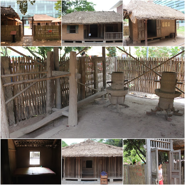 A typical wooden Vietnam house at the outdoor of Museum of Ethnology in Hanoi, Vietnam