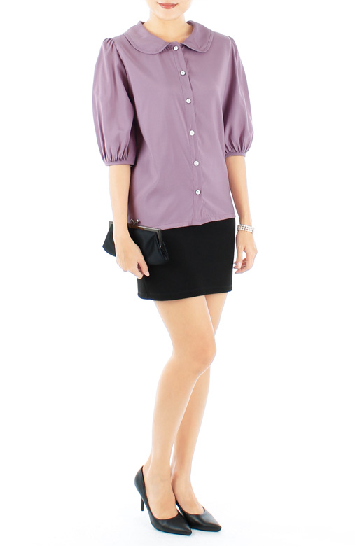 Lavender Dainty White Enamel Button Blouse with Puffed Sleeves