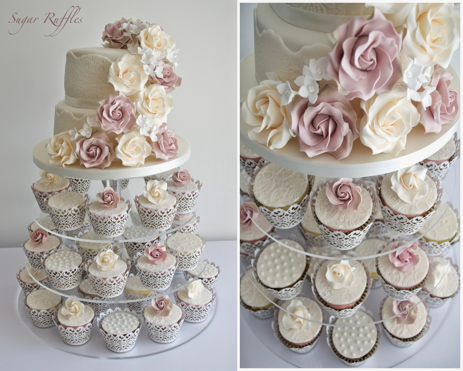 vintage roses lace wedding cupcake tower. Black Bedroom Furniture Sets. Home Design Ideas