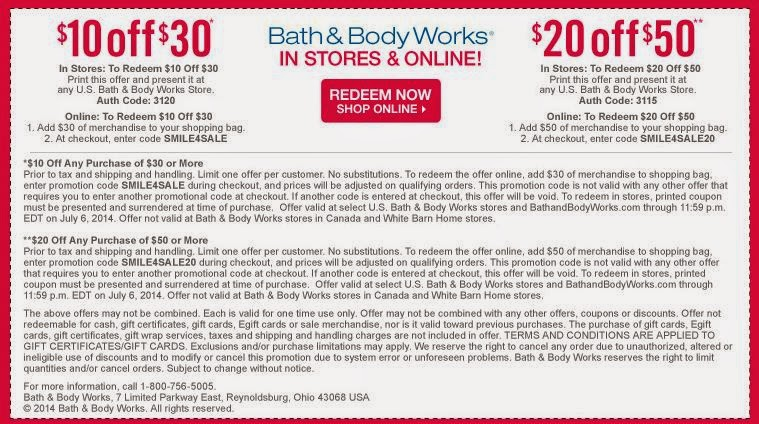 Coupons Bath and Body Works 2015