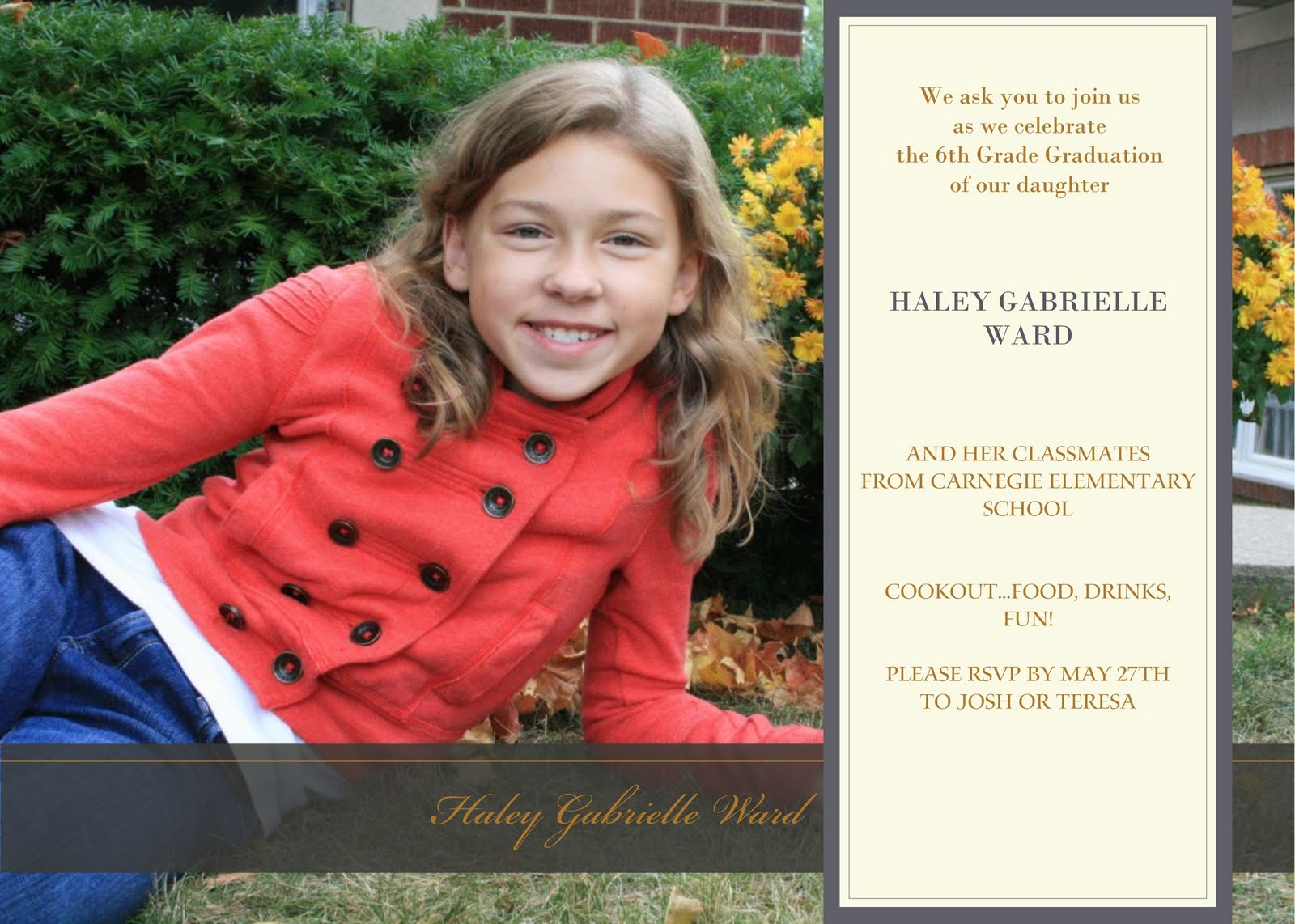Party with the Ward\'s: Haley\'s 6th Grade Graduation Invitation