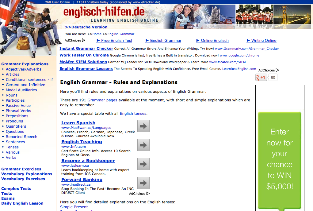 screen shot of homepage for Englisch Hilfen Learning English
