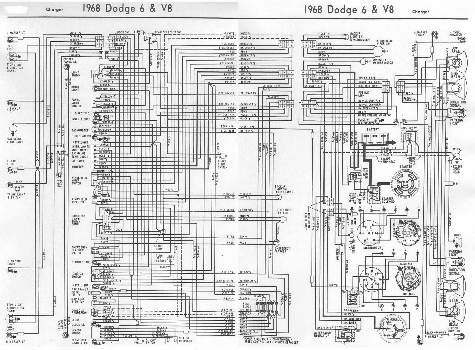 Dodge+Charger+1968+6+and+V8+Complete+Electrical+Wiring+Diagram dodge charger wiring diagram dodge wiring diagrams instruction 1970 dodge coronet wiring diagram at bakdesigns.co