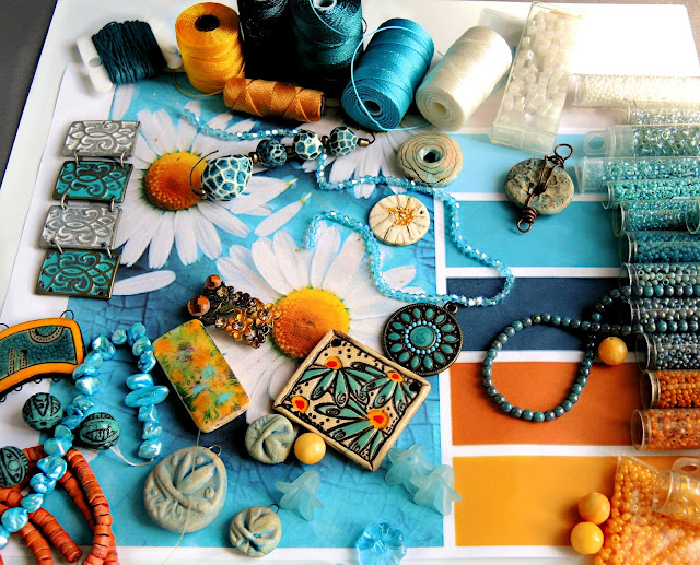 Beads and cord in the daisy color palette.