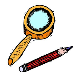 magnifying glass with pencil