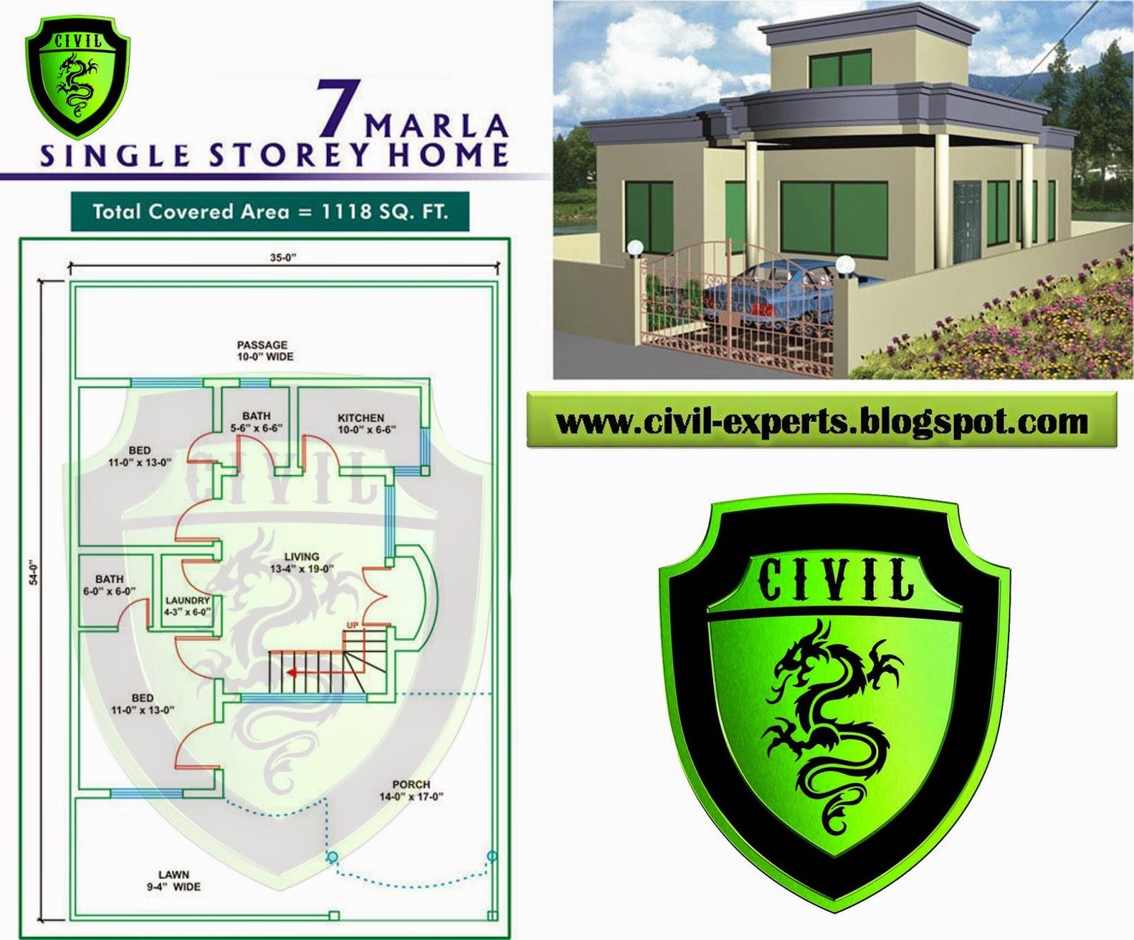 Civil Experts 7 Marla House Plans