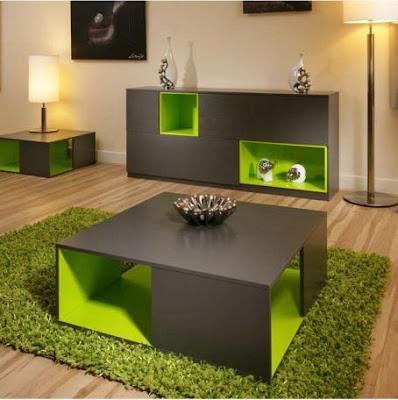 Mẫu thiết kế phòng khách đẹp kết hợp với gam màu xám và xanh lá