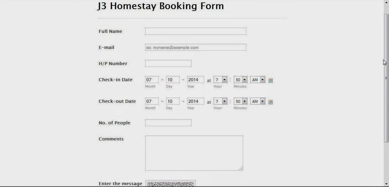 Tawau Homestay Booking Form