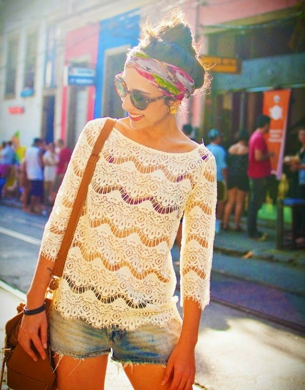 Floral Turban Headband and Lace Top