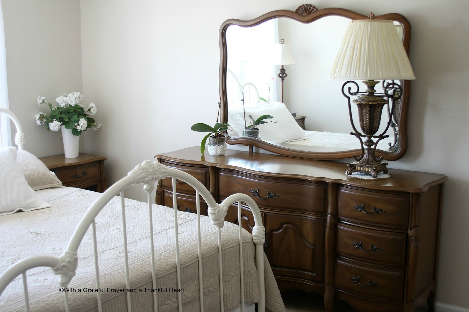 With a Grateful Prayer and a Thankful Heart Vintage French Provincial Bedroo