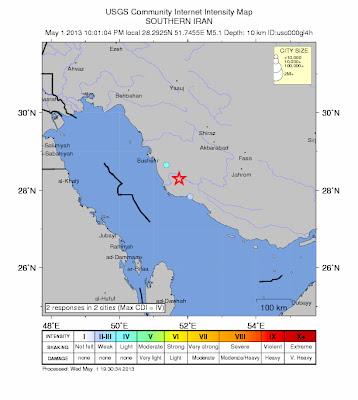 Epicentro sismo Iran, 01 de Mayo 2013