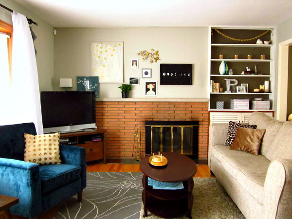 orange teal grey living room modern house