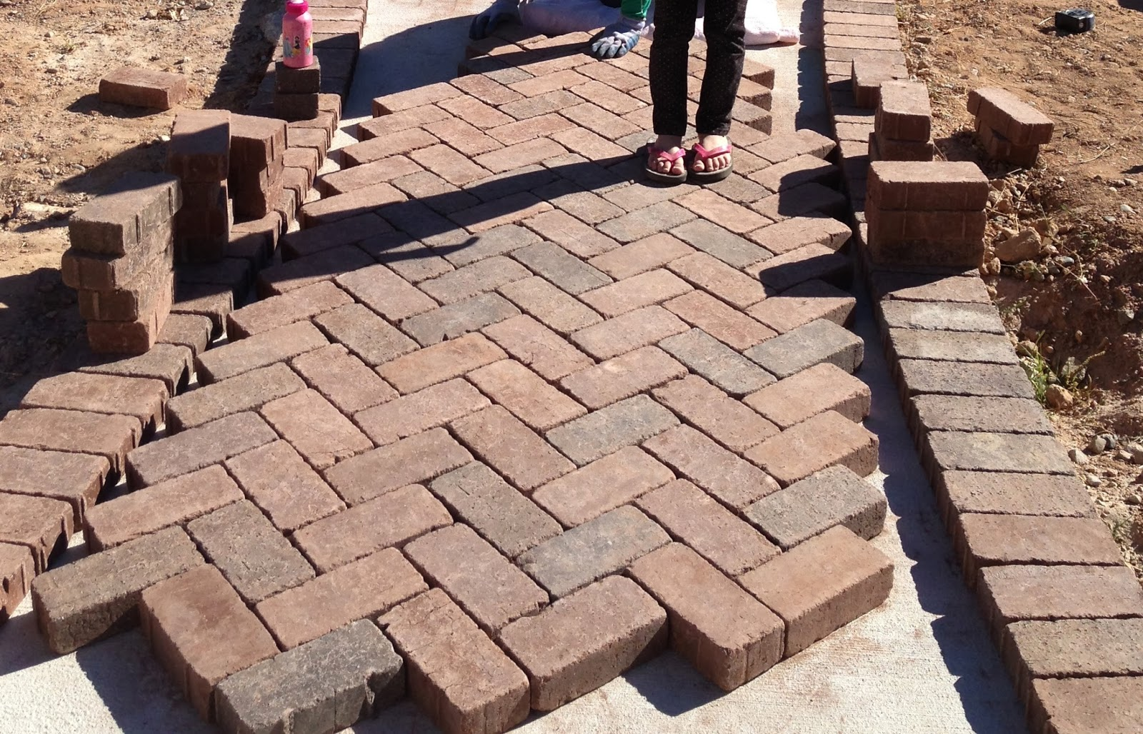 ranch house rehab paver pathway
