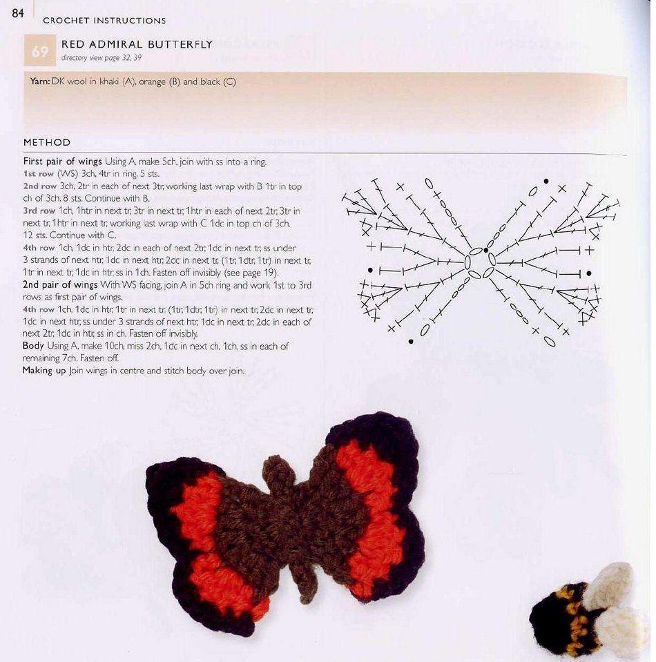 Вязание бабочек и их схемы 454