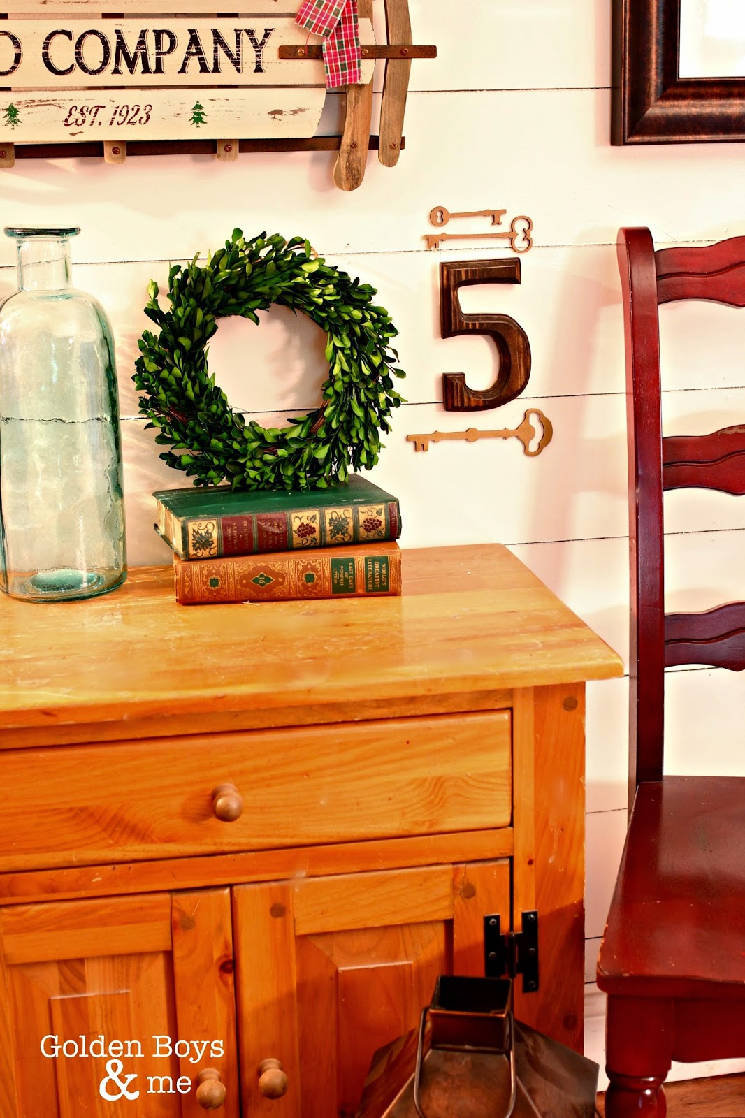 Target Smith and Hawken small preserved boxwood wreath on plank wall-www.goldenboysandme.com