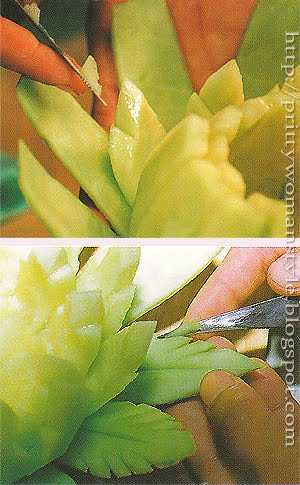 Кошничка от пъпеш - оформяне на листа