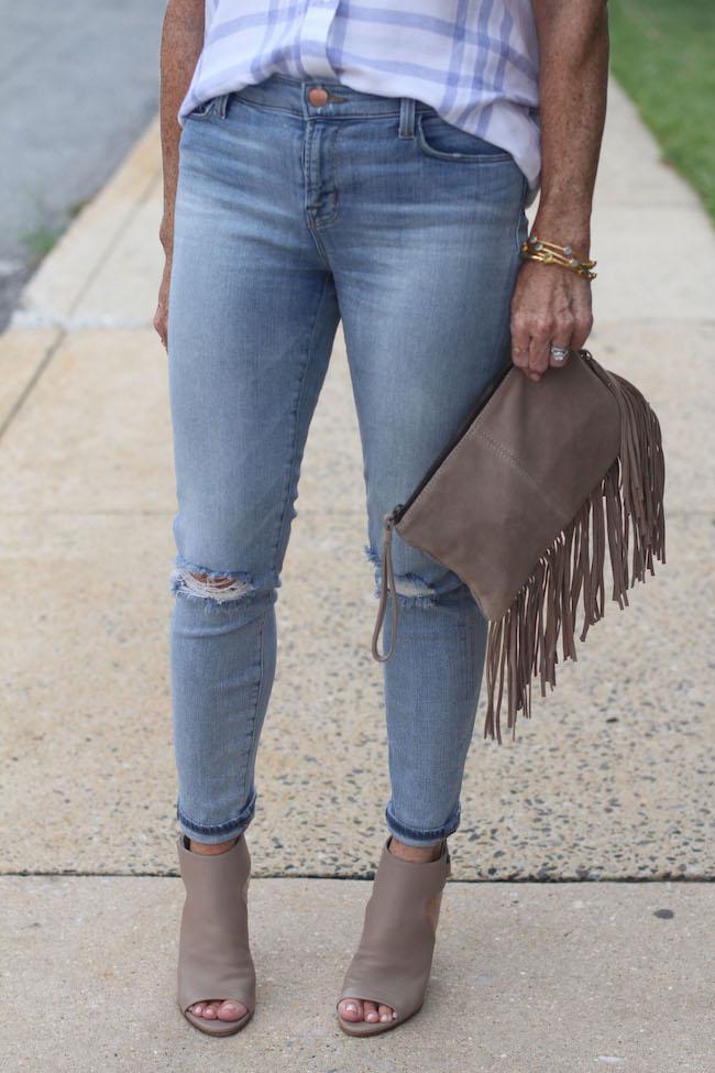 j brand jeans, julie vos bracelets, mango clutch