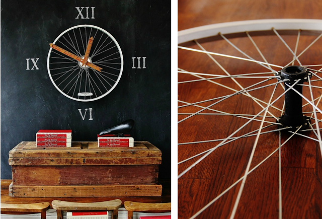 Bike Wheel and Ruler Wall Clock: Our 8 Favorite Upcycled DIY's for Your Home