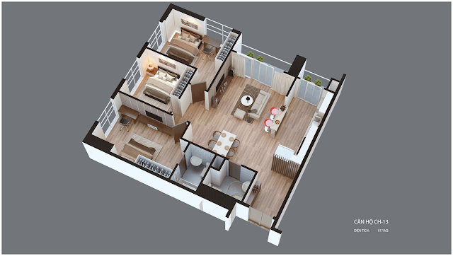 Mặt bằng căn hộ Imperia Garden CH13 97,1 m2