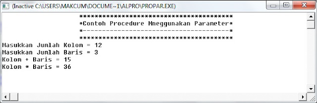 Contoh Program Procedure tanpa parameter