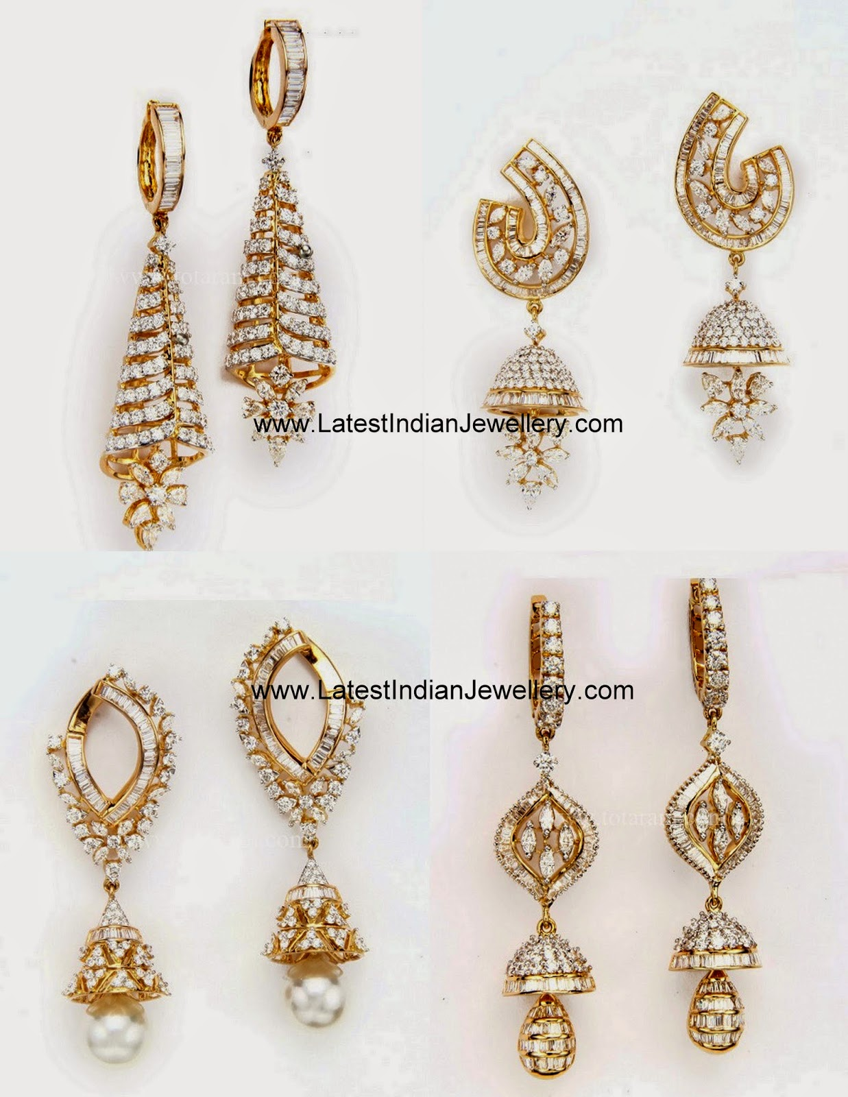 Latest Fancy Diamond Jhumkas