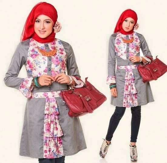 15 Koleksi Desain Baju Atasan Muslim Wanita Terbaru 2017