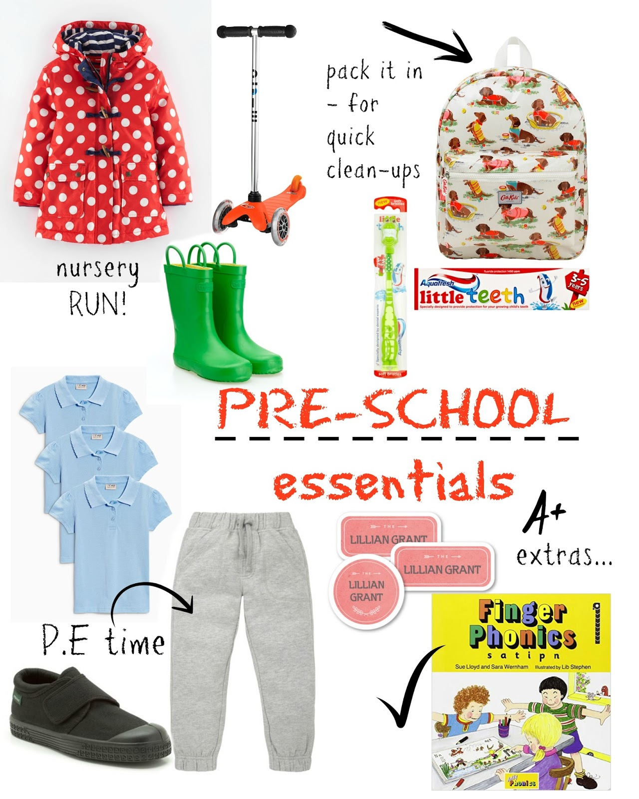 mamasVIB   V. I. BUYS: Getting ready for Pre-School and some stylish little essentials!   pre school   starting school   back to school   september   back to pre school   school essentials   pre school essentials   what to take to pre school   school buys   kids   kids style   boden    clarks   micro scooter   aqua fresh for kids   mothercare   classic plimsolls   tracksuit bottoms for kids   phonics   phonics books   mamasVIB   stylist  whats to take to nursery  buys   shopping