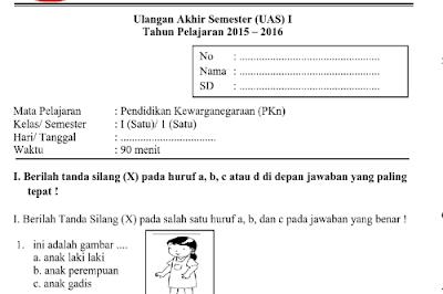 Soal UAS kelas 1 SD/MI semester 1 semua mata pelajaran.