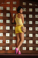 Shriya Saran Spicy Pics in Yellow Tank Top and yellow Shorts Dance Stills