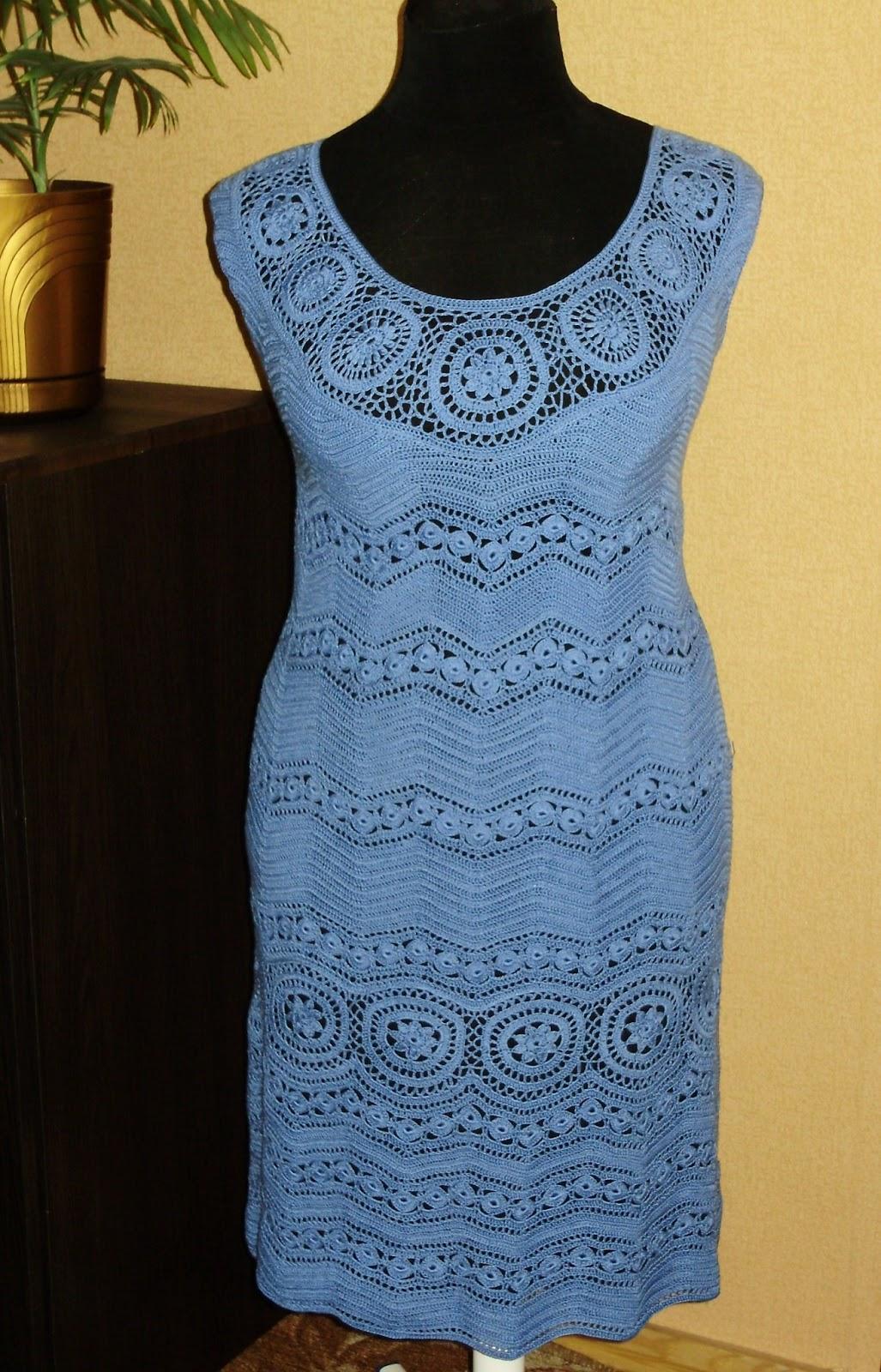 платье связанное крючком со схемами размер 48